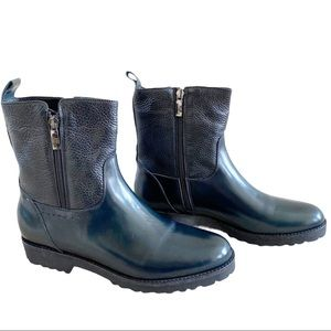 Mally Leather Rubber Double Zip Chelsea Boots NWOB